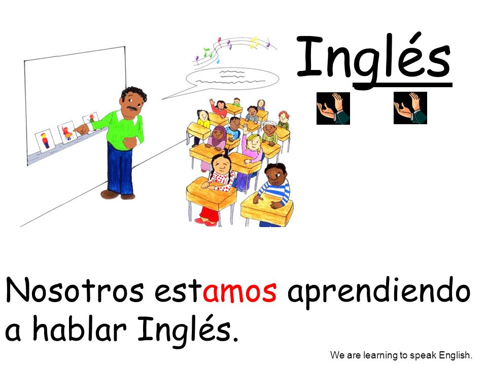 Inglés Nosotros estamos aprendiendo a hablar Inglés.