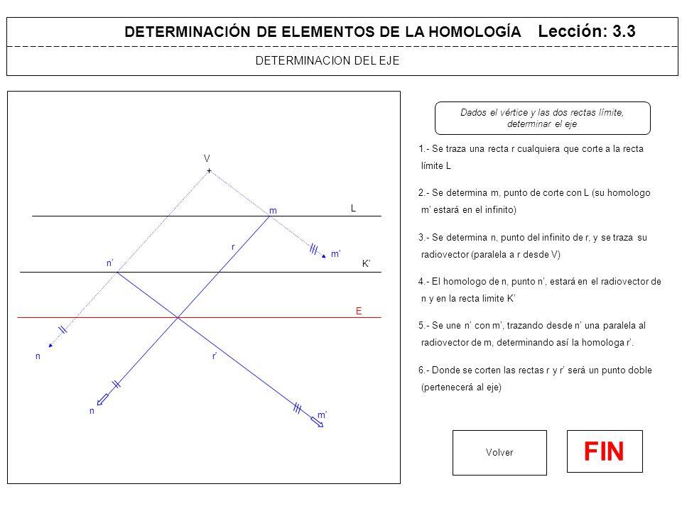 DETERMINACIÓN DE ELEMENTOS DE LA HOMOLOGÍA