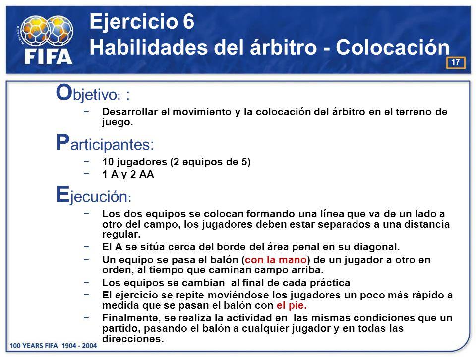 Ejercicio 6 Habilidades del árbitro - Colocación