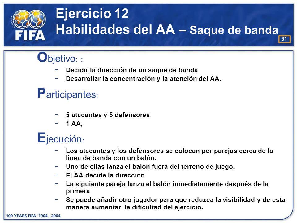 Ejercicio 12 Habilidades del AA – Saque de banda