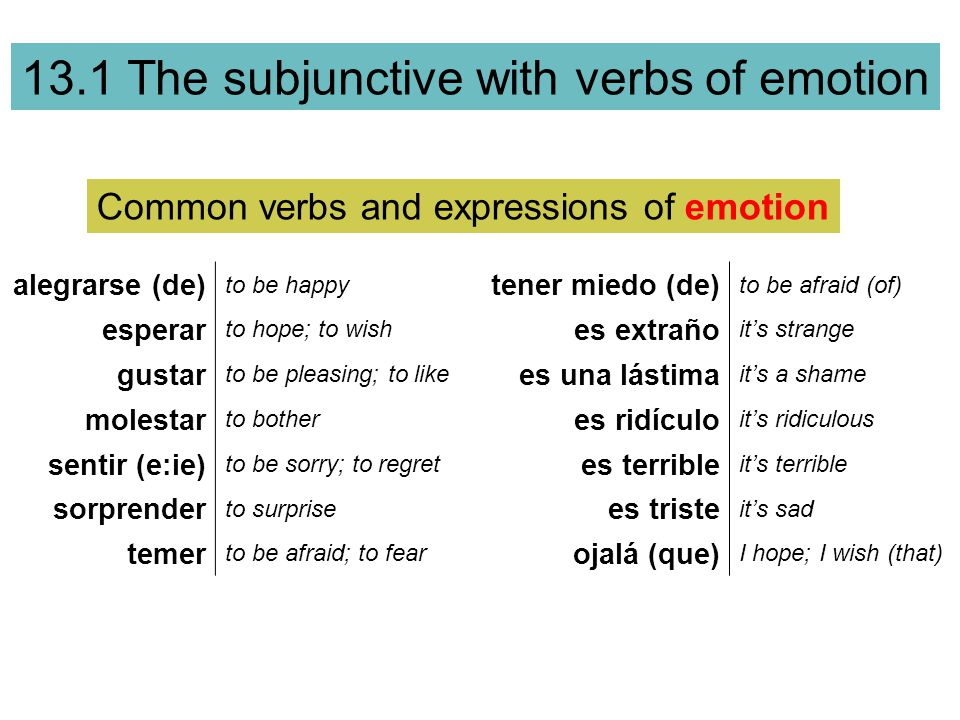 Common verbs and expressions of emotion
