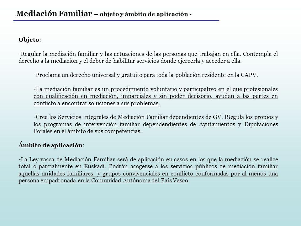 Mediación Familiar – objeto y ámbito de aplicación -