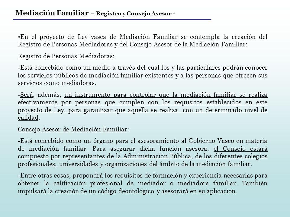 Mediación Familiar – Registro y Consejo Asesor -