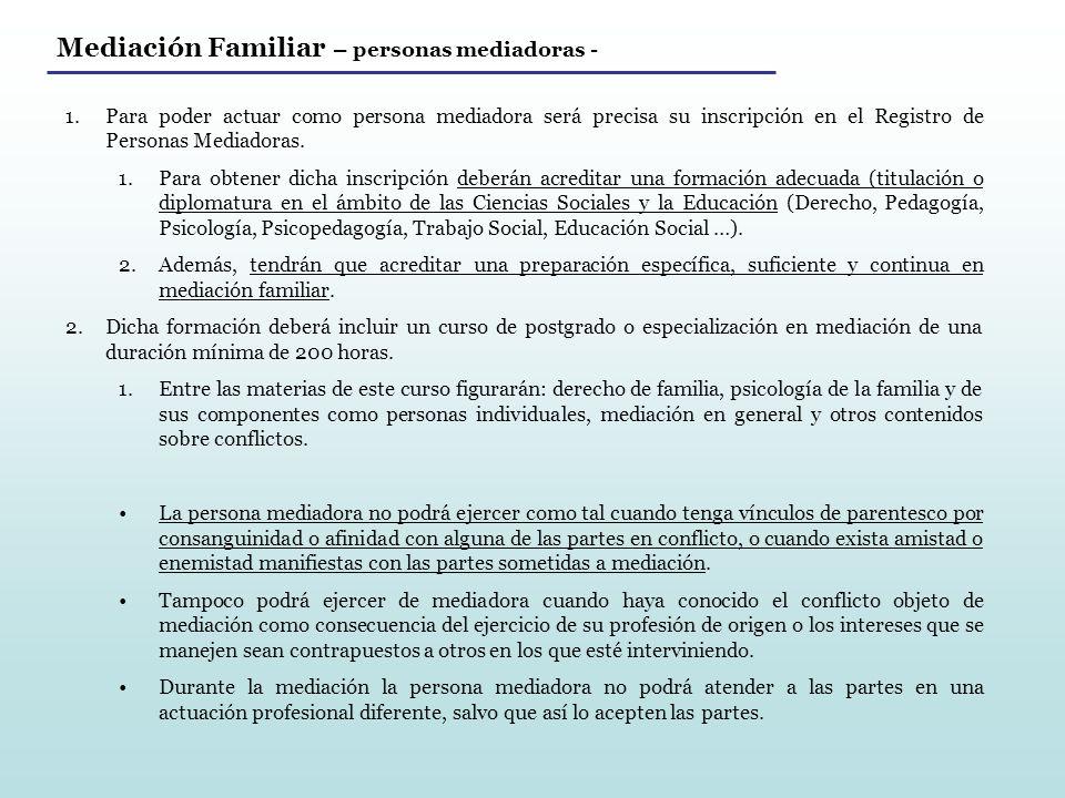 Mediación Familiar – personas mediadoras -
