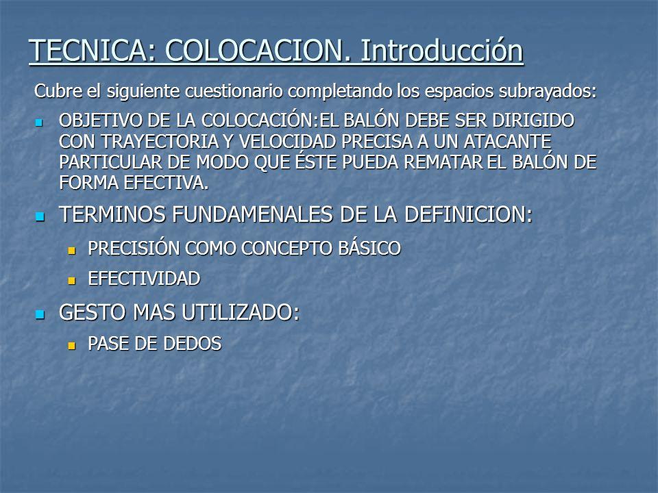 TECNICA: COLOCACION. Introducción