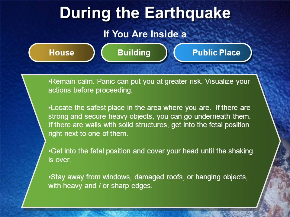 During the Earthquake If You Are Inside a House Building Public Place