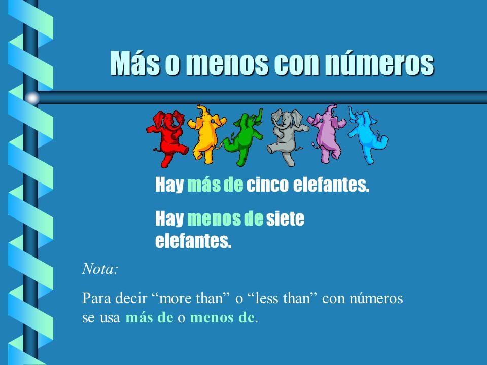 Más o menos con números Hay más de cinco elefantes.