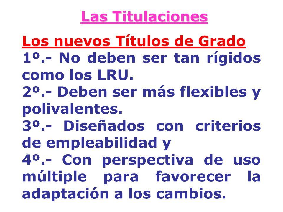 Las Titulaciones Los nuevos Títulos de Grado. 1º.- No deben ser tan rígidos como los LRU. 2º.- Deben ser más flexibles y polivalentes.