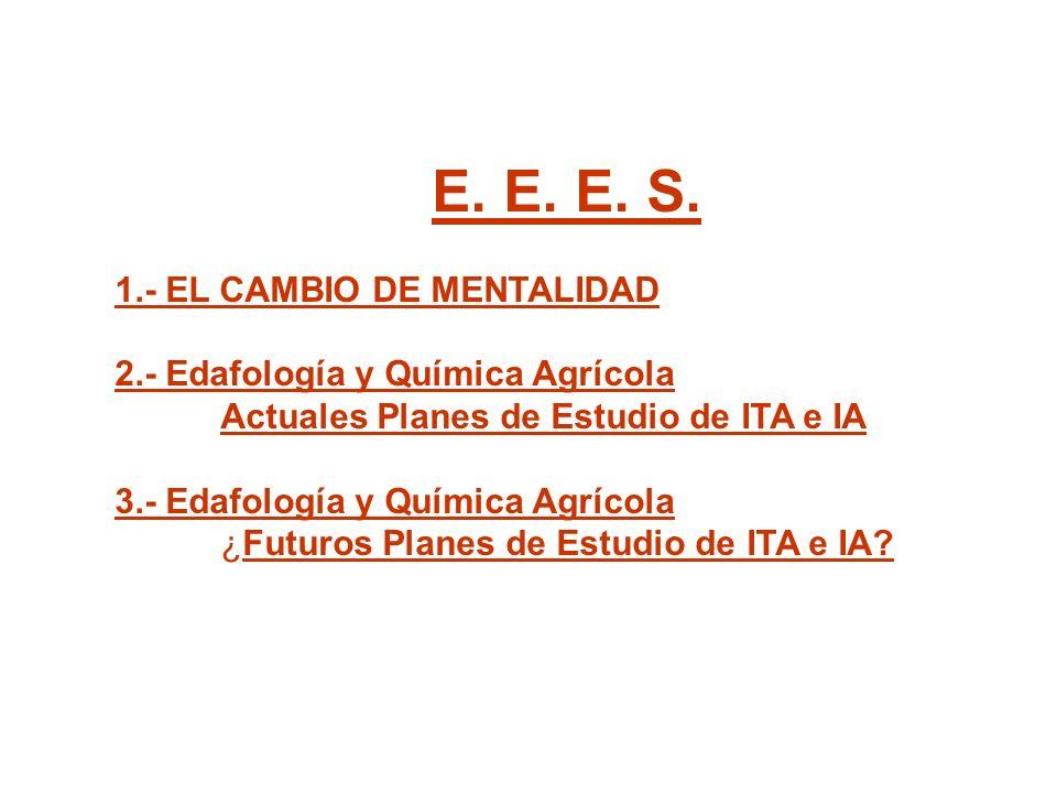 E. E. E. S. 1.- EL CAMBIO DE MENTALIDAD