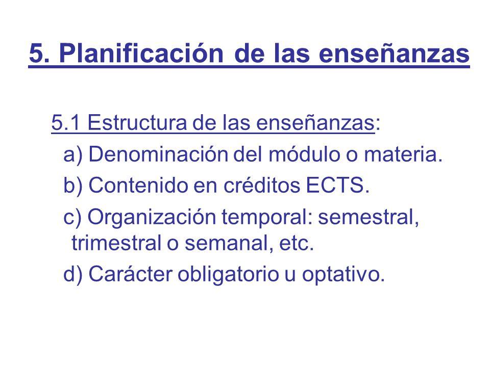 5. Planificación de las enseñanzas