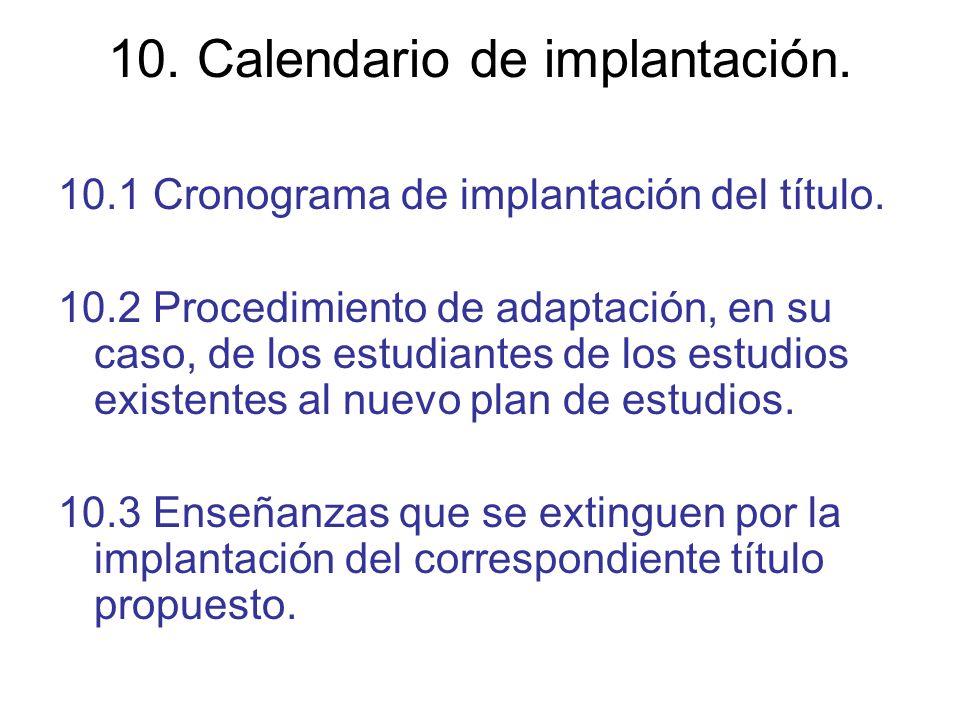 10. Calendario de implantación.