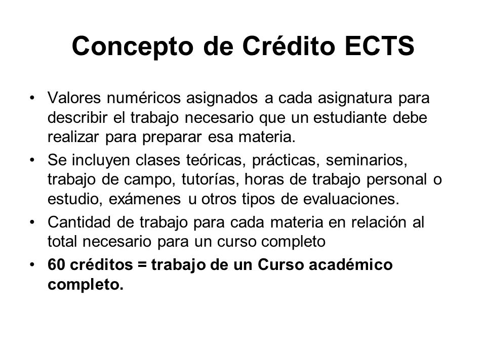 Concepto de Crédito ECTS