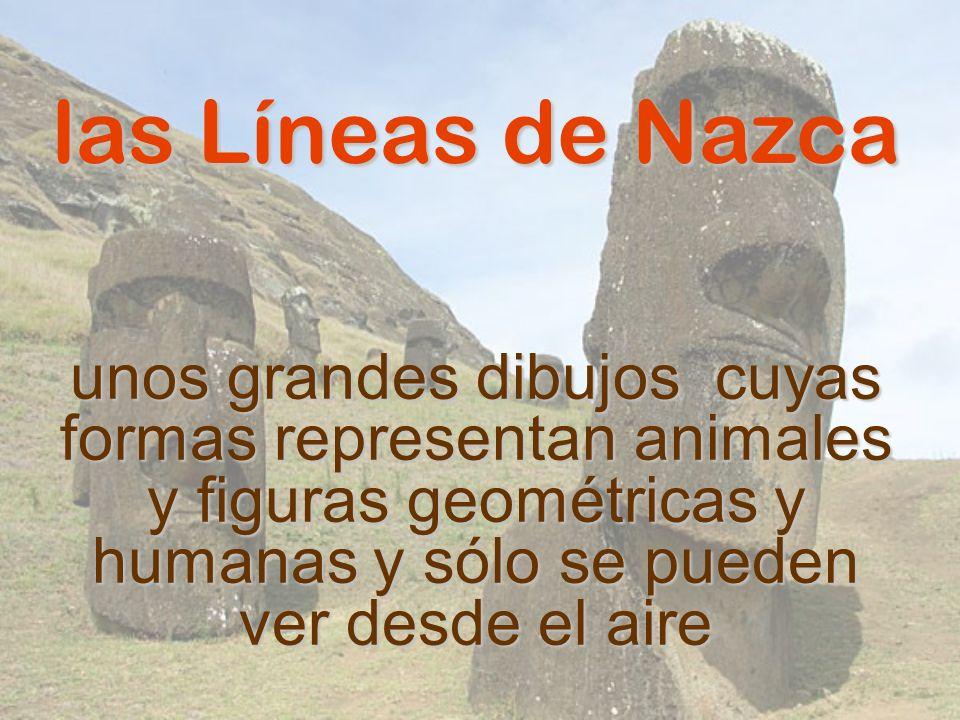 las Líneas de Nazca unos grandes dibujos cuyas formas representan animales y figuras geométricas y humanas y sólo se pueden ver desde el aire.