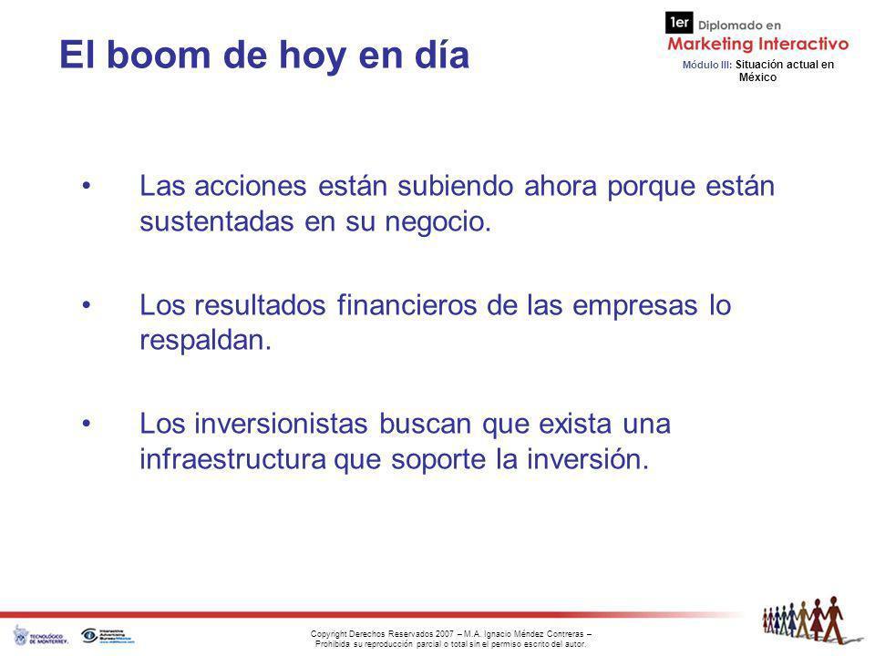 El boom de hoy en día Las acciones están subiendo ahora porque están sustentadas en su negocio.