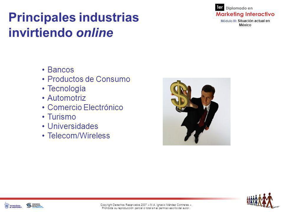 Principales industrias invirtiendo online