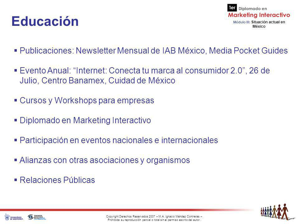 Educación Publicaciones: Newsletter Mensual de IAB México, Media Pocket Guides.