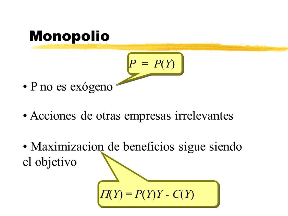 Monopolio P no es exógeno Acciones de otras empresas irrelevantes