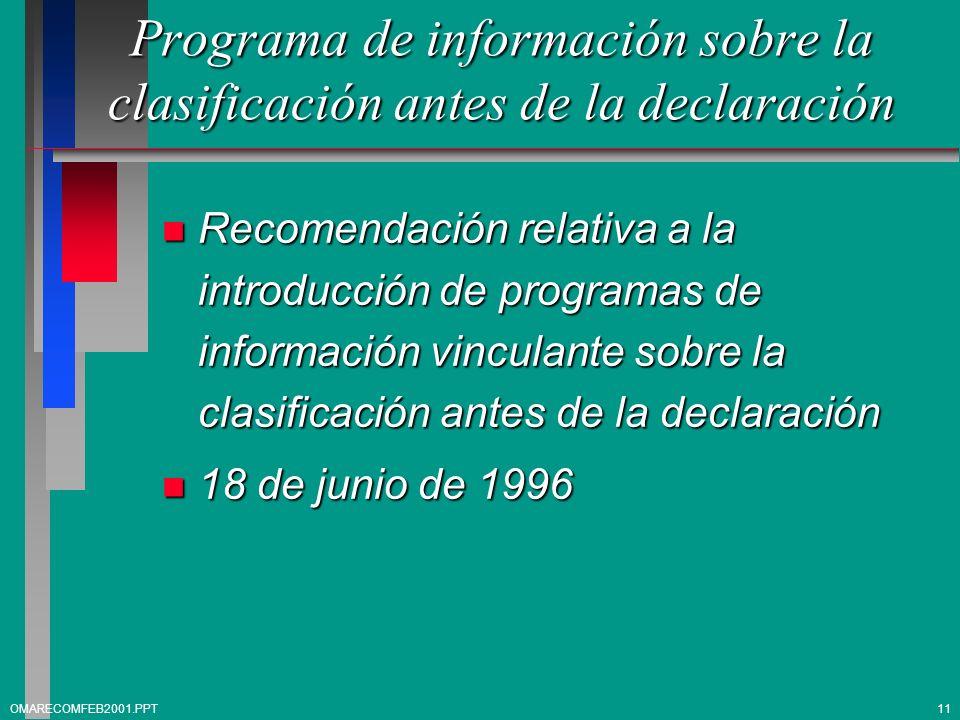 Programa de información sobre la clasificación antes de la declaración