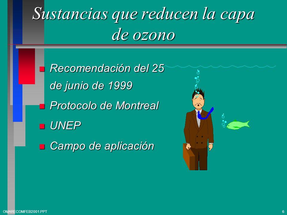 Sustancias que reducen la capa de ozono