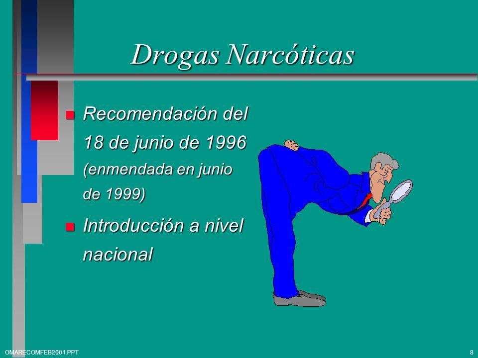 Drogas Narcóticas Recomendación del 18 de junio de 1996 (enmendada en junio de 1999) Introducción a nivel nacional.
