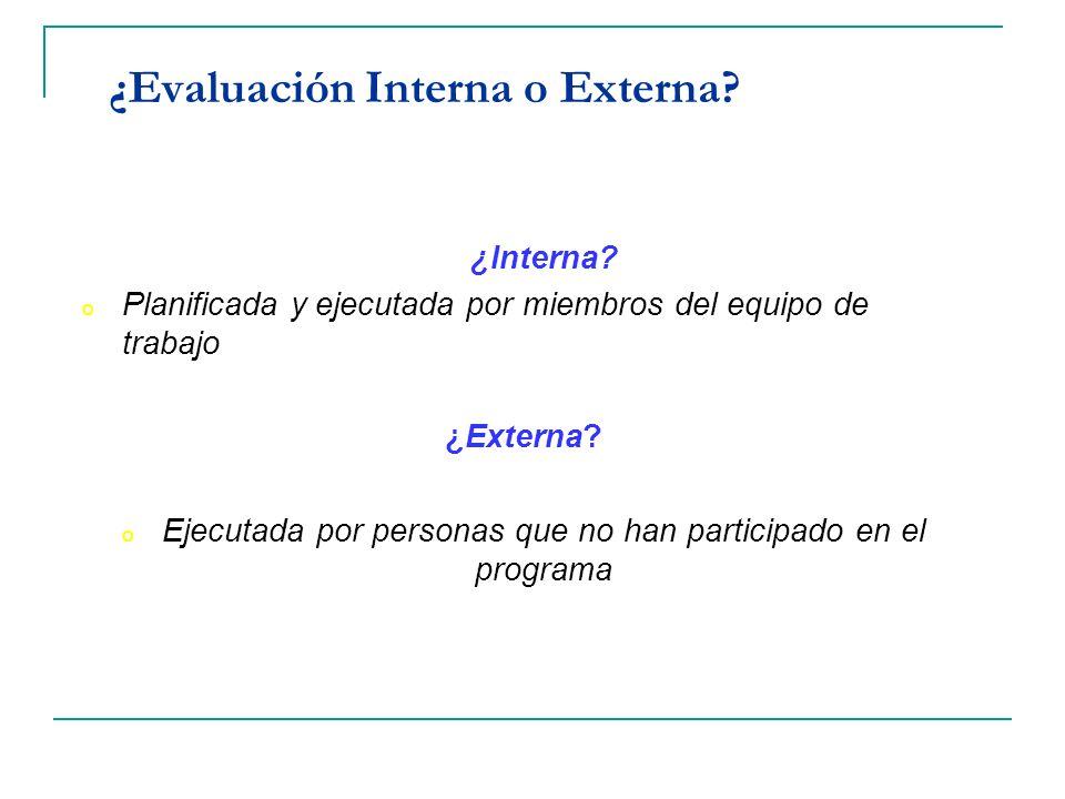 ¿Evaluación Interna o Externa