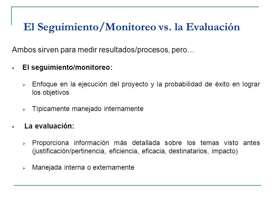 El Seguimiento/Monitoreo vs. la Evaluación