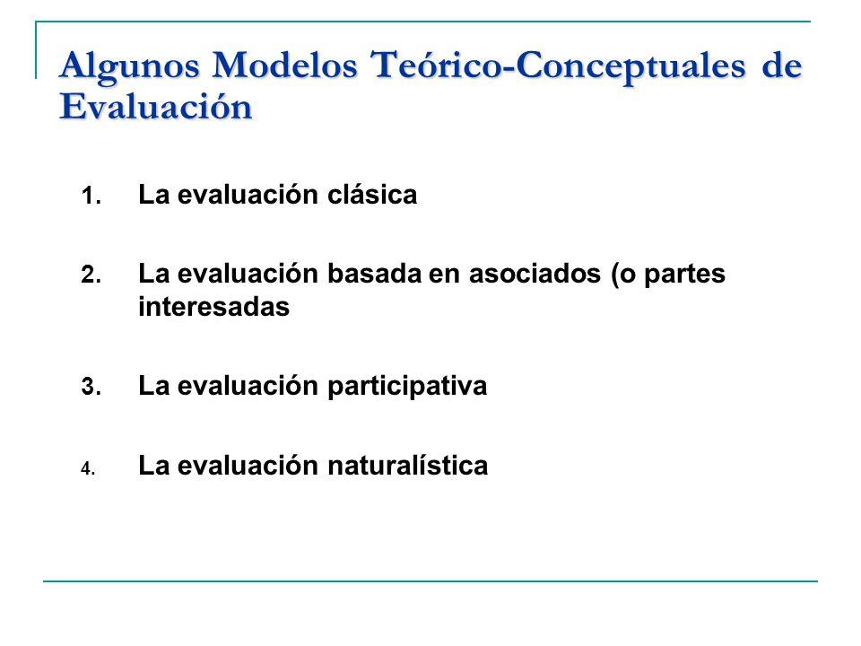 Algunos Modelos Teórico-Conceptuales de Evaluación