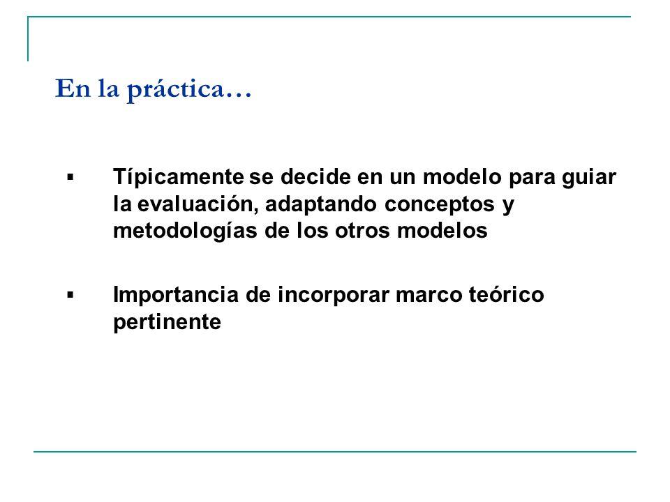 En la práctica… Típicamente se decide en un modelo para guiar la evaluación, adaptando conceptos y metodologías de los otros modelos.