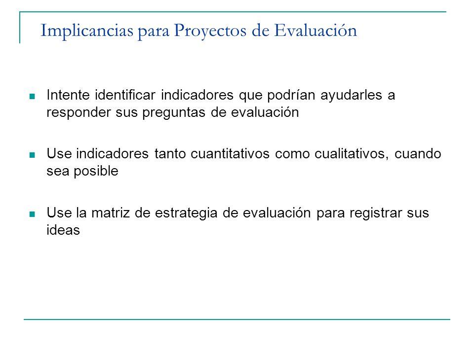 Implicancias para Proyectos de Evaluación