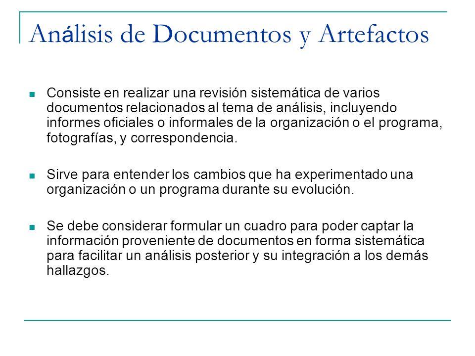 Análisis de Documentos y Artefactos
