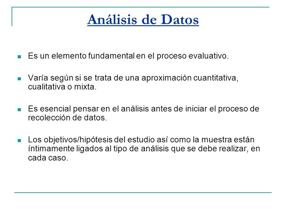 Análisis de Datos Es un elemento fundamental en el proceso evaluativo.