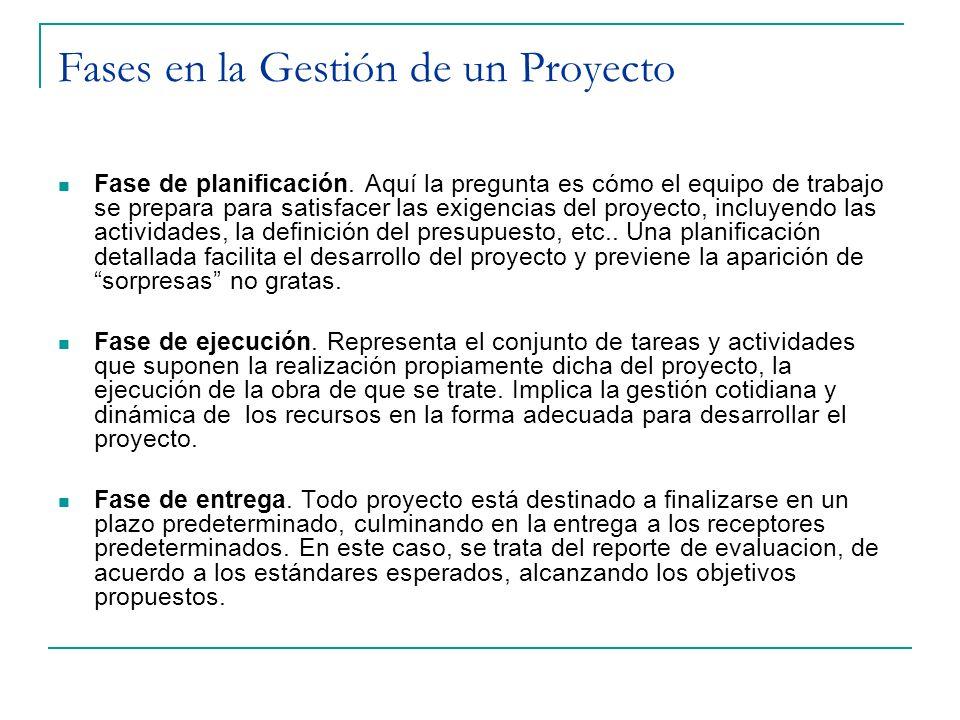 Fases en la Gestión de un Proyecto