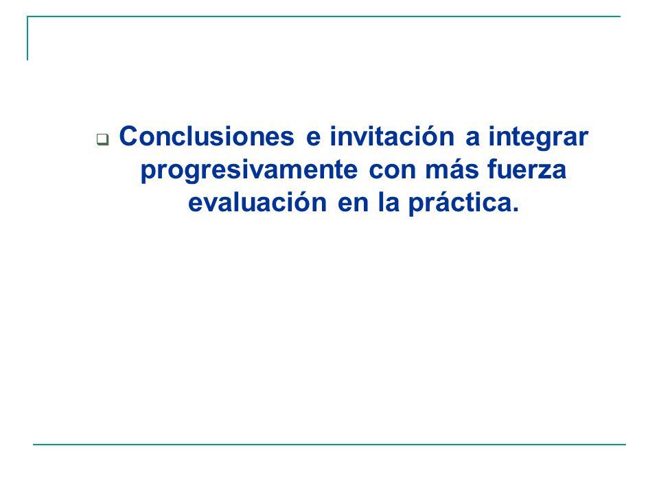 Conclusiones e invitación a integrar progresivamente con más fuerza evaluación en la práctica.