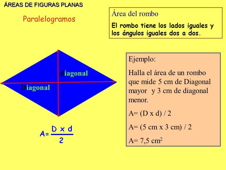 Área del rombo Paralelogramos Ejemplo: