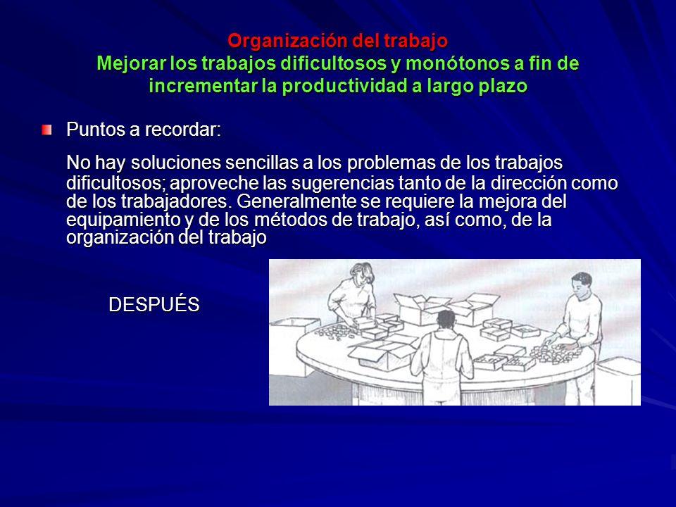 Organización del trabajo Mejorar los trabajos dificultosos y monótonos a fin de incrementar la productividad a largo plazo