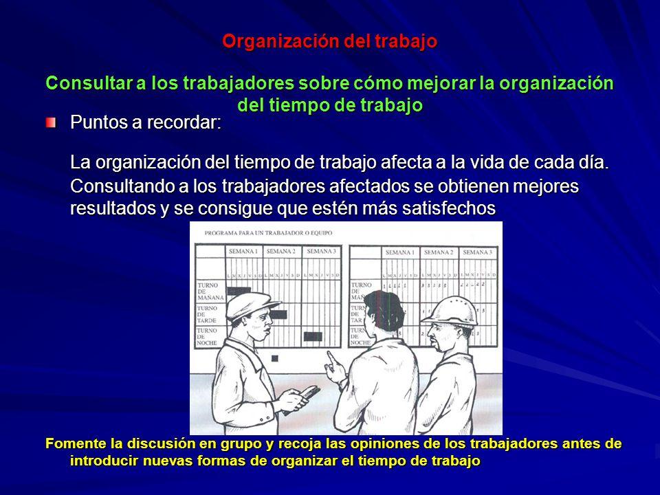 Organización del trabajo Consultar a los trabajadores sobre cómo mejorar la organización del tiempo de trabajo