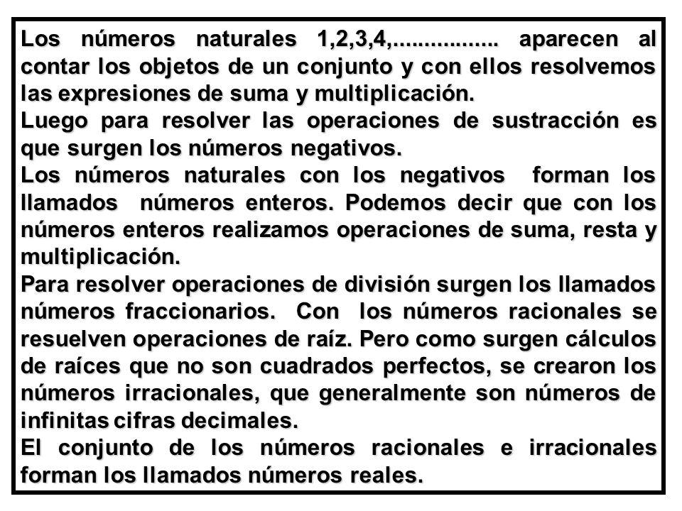 Los números naturales 1,2,3,4,................. aparecen al contar los objetos de un conjunto y con ellos resolvemos las expresiones de suma y multiplicación.