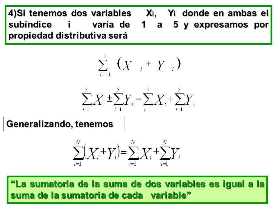 4)Si tenemos dos variables Xi, Yi donde en ambas el subíndice i varía de 1 a 5 y expresamos por propiedad distributiva será