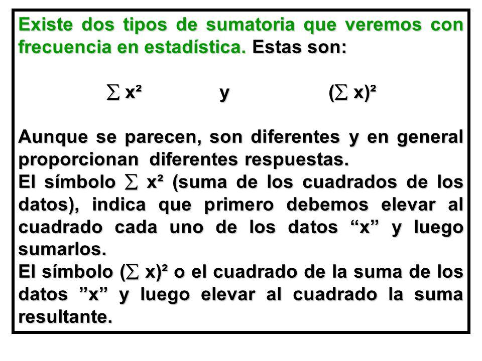 Existe dos tipos de sumatoria que veremos con frecuencia en estadística. Estas son: