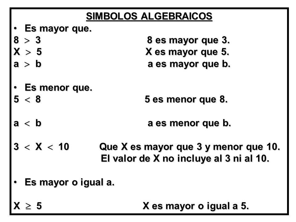SIMBOLOS ALGEBRAICOS Es mayor que. 8  3 8 es mayor que 3.