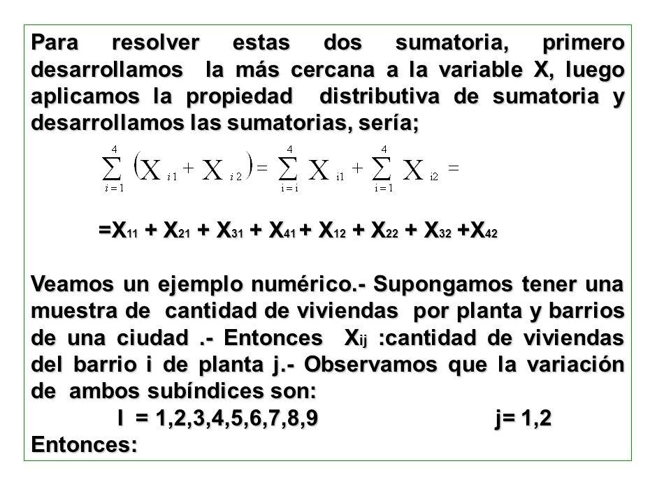 Para resolver estas dos sumatoria, primero desarrollamos la más cercana a la variable X, luego aplicamos la propiedad distributiva de sumatoria y desarrollamos las sumatorias, sería;