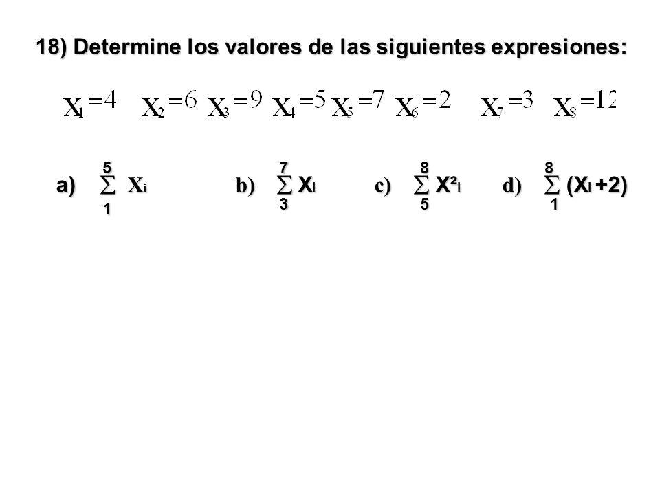 18) Determine los valores de las siguientes expresiones: