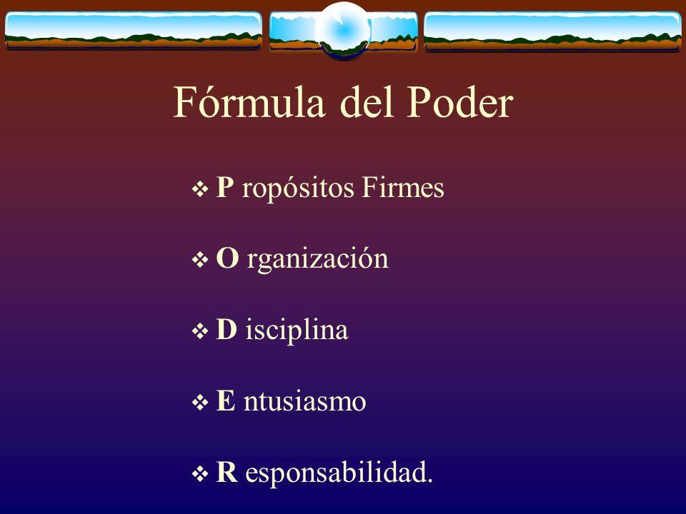 Fórmula del Poder P ropósitos Firmes O rganización D isciplina