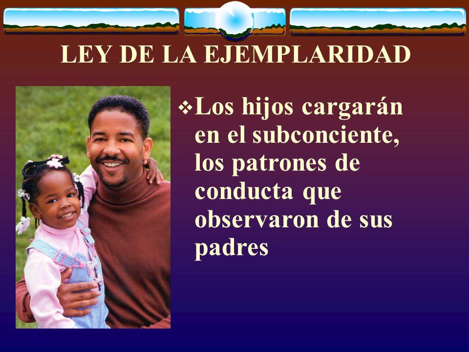 LEY DE LA EJEMPLARIDADLos hijos cargarán en el subconciente, los patrones de conducta que observaron de sus padres.