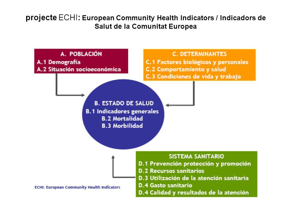 projecte ECHI: European Community Health Indicators / Indicadors de Salut de la Comunitat Europea