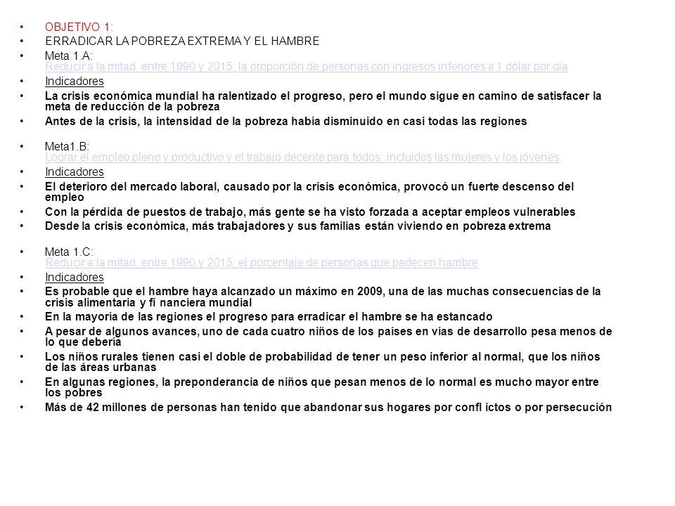 OBJETIVO 1: ERRADICAR LA POBREZA EXTREMA Y EL HAMBRE.
