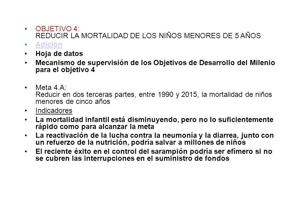 OBJETIVO 4: REDUCIR LA MORTALIDAD DE LOS NIÑOS MENORES DE 5 AÑOS