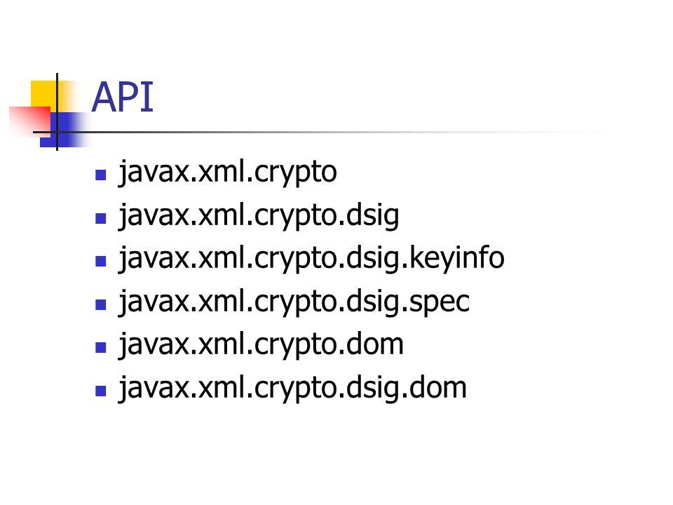 API javax.xml.crypto javax.xml.crypto.dsig