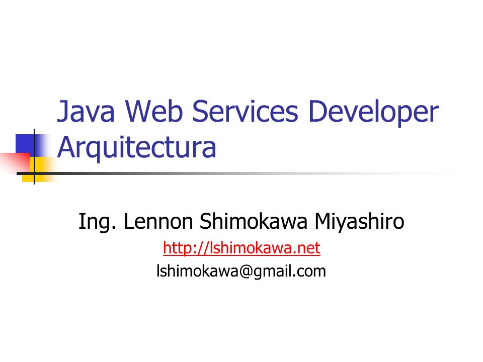 Java Web Services Developer Arquitectura