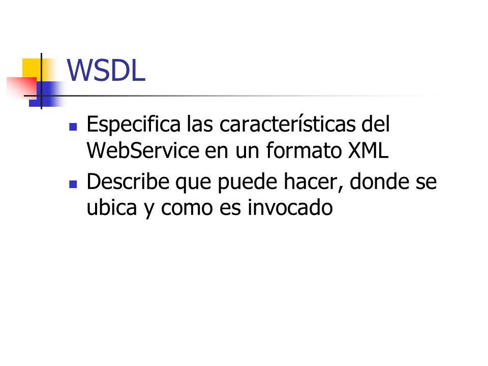 WSDL Especifica las características del WebService en un formato XML